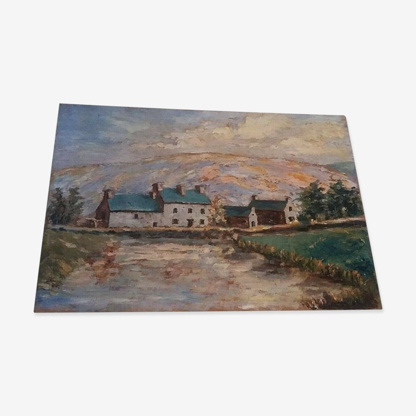 Tableau huile sur panneau, paysage Bretagne