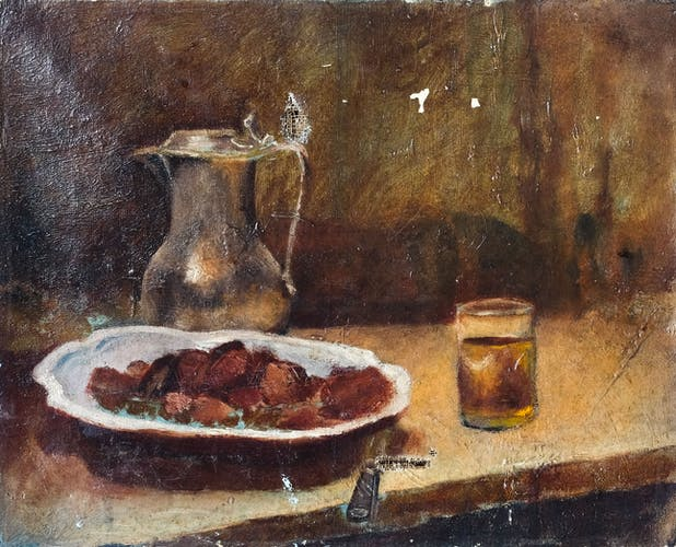 Peinture ancienne - nature morte aux marrons huile sur toile