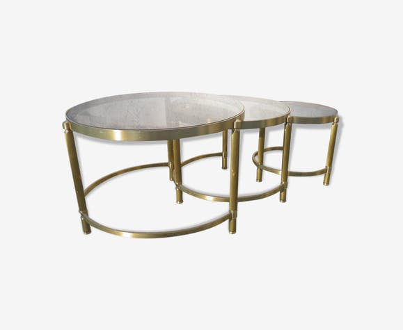 table basse gigogne verre fum design xx me d co vintage ann es 70 laiton dor vintage. Black Bedroom Furniture Sets. Home Design Ideas
