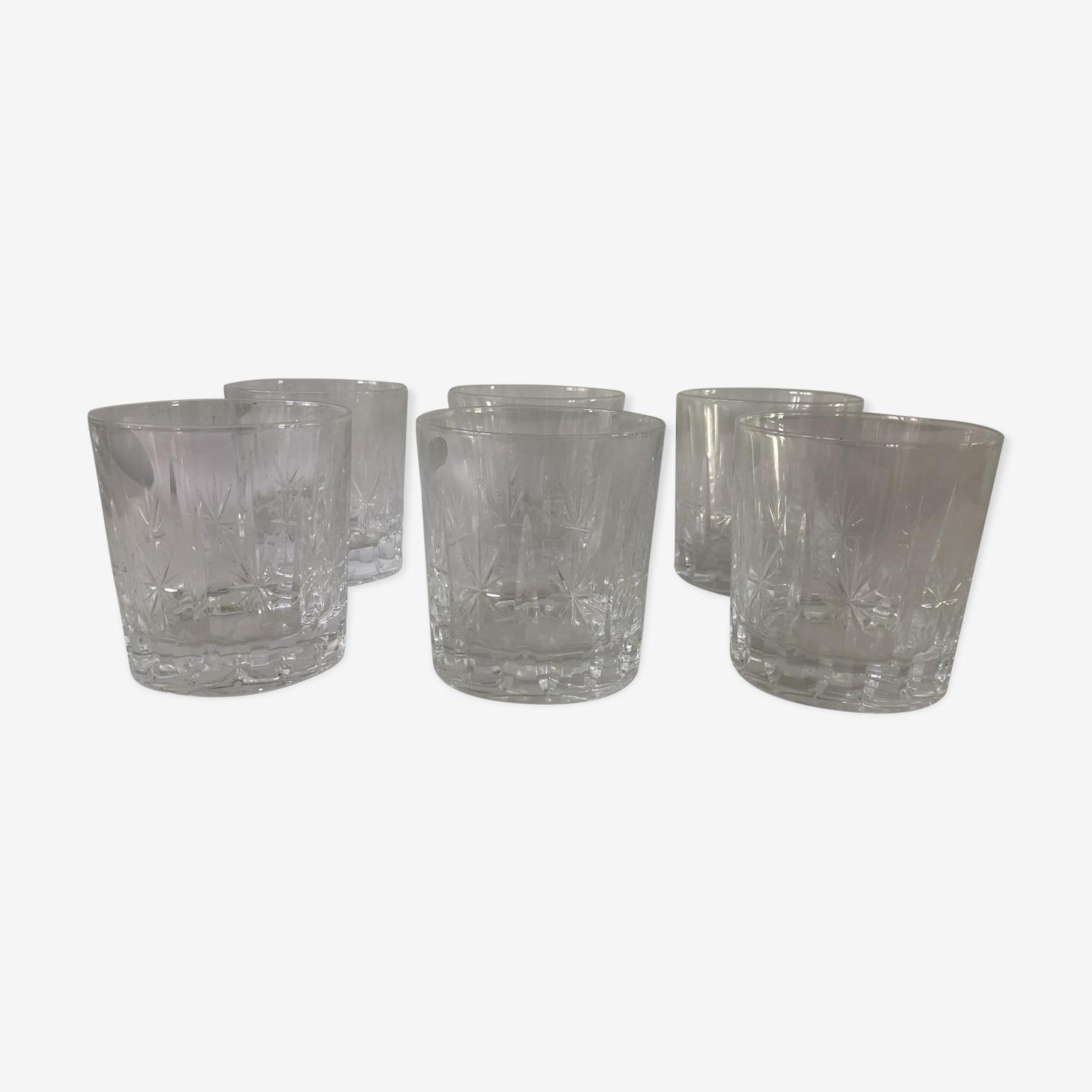 6 verres à whisky en cristal gravé