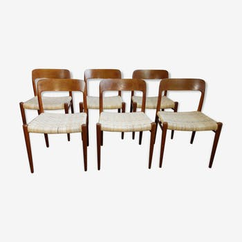 Set of 6 chairs Niel o Moller design vintage Scandinavian 1960