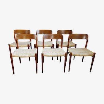 Suite de 6 chaises Niel o Moller design vintage scandinave 1960