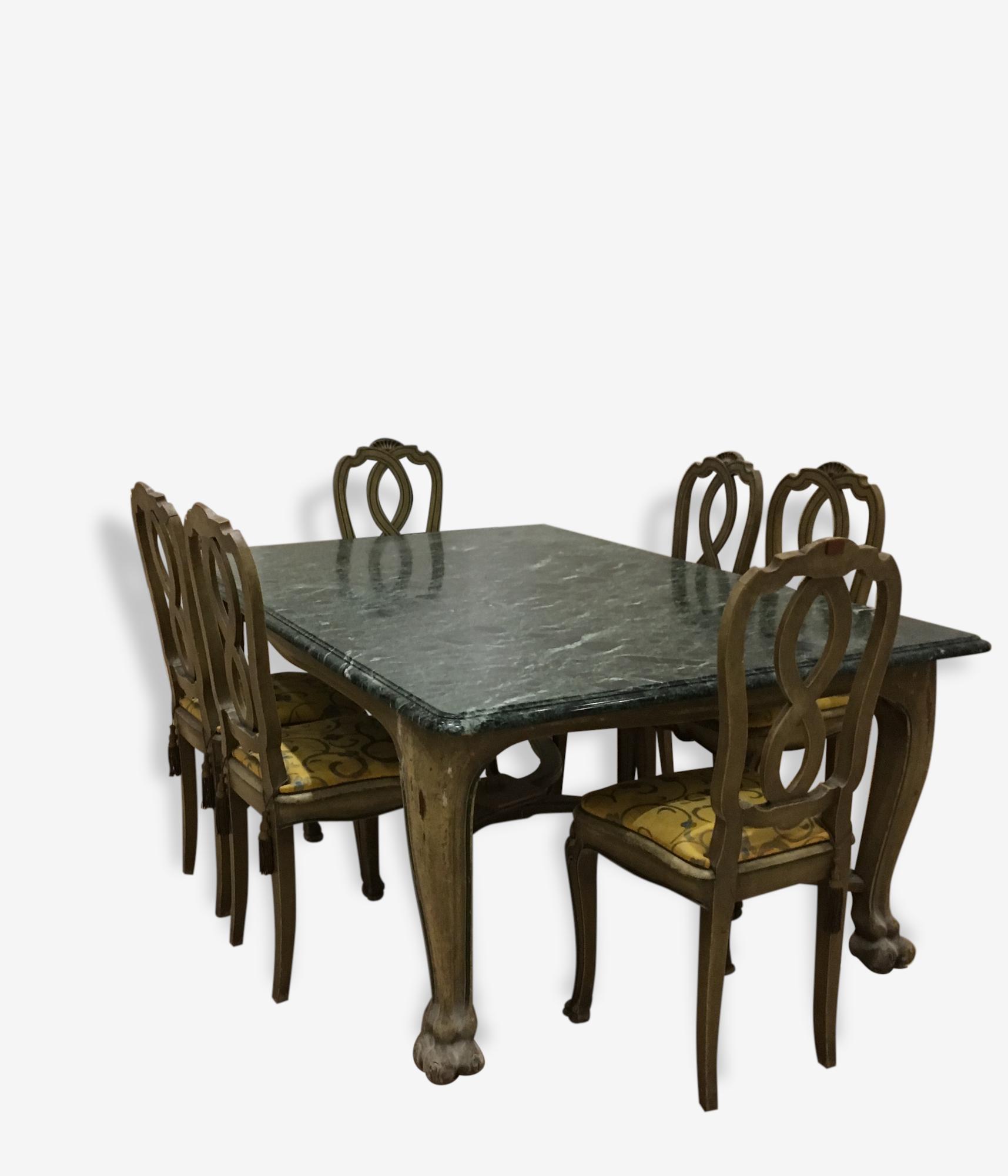 Table De Salle A Manger Avec 8 Chaises Marbre Vert Design 153989