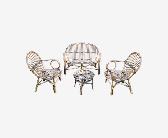 Salon de jardin en rotin - rotin et osier - bois (Couleur) - vintage ...