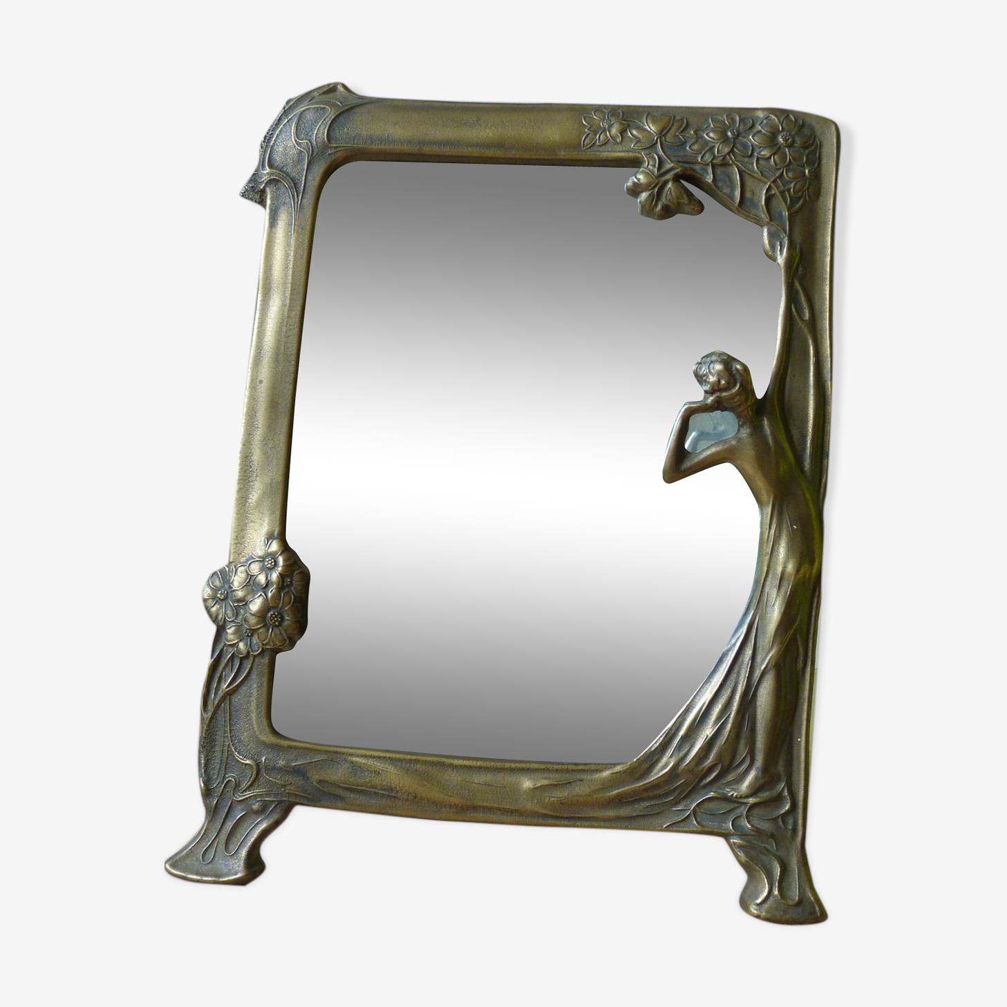 Miroir art nouveau 1900 en laiton doré décor nymphe 22,5 X 18cm