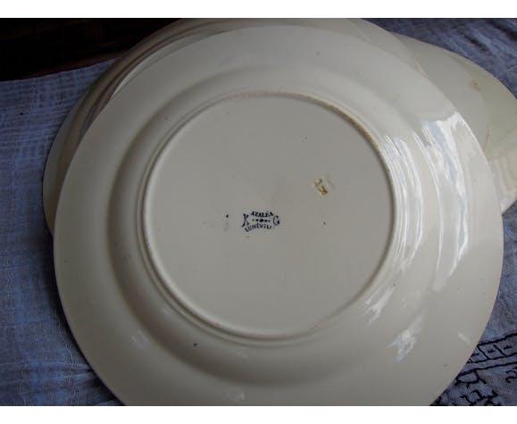 Lot de 6 assiettes plates Modèle Azaléa bleu Lunéville K et