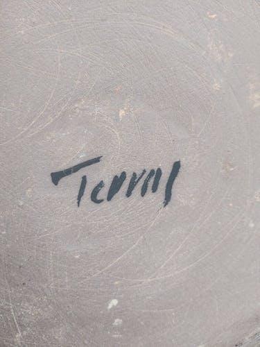 Lampe grès années 70 signée