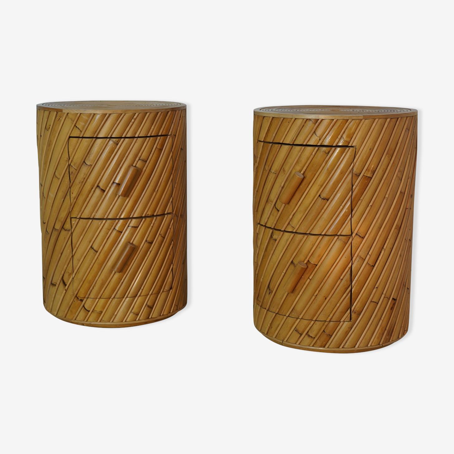Paire de table de chevets en rotin design par India Mahdavi