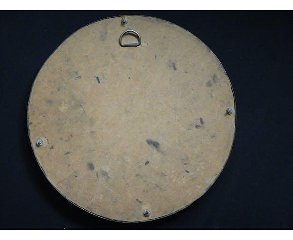 Ancien miroir oriental rond en laiton ciselé 29cm