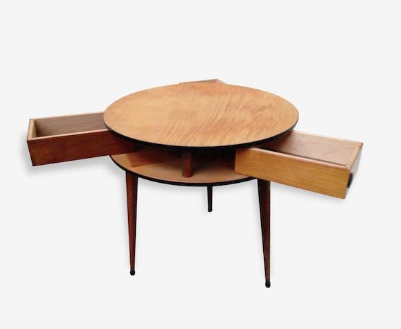 Table basse tripode vintage scandinave annees 50/60 - bois (Matériau ...