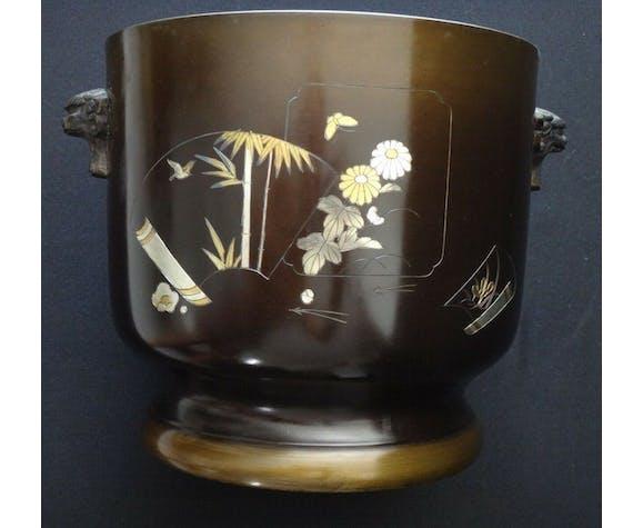 Paire de cache pots décoratif incrustations Japon signé début XXème