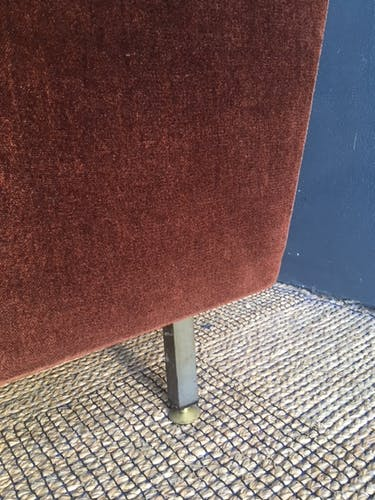 Fauteuil velours tabac