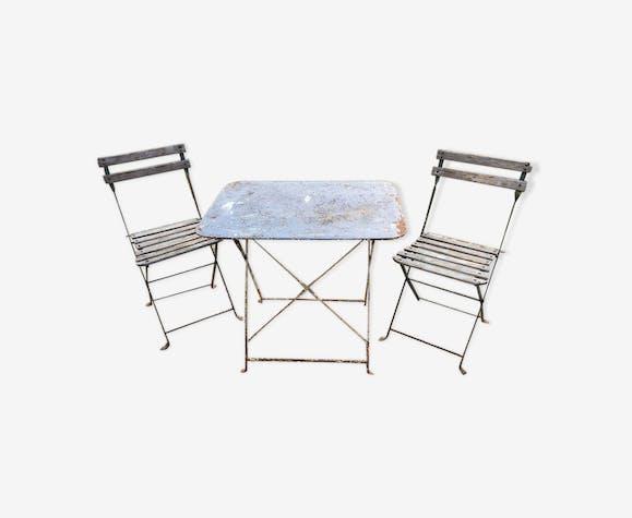 Table et 2 chaises jardin bistrot vintage - métal - bleu - vintage ...