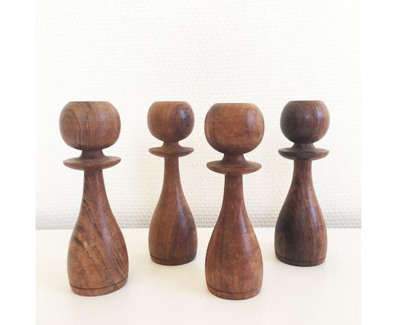 Lot of Scandinavian wooden candlesticks