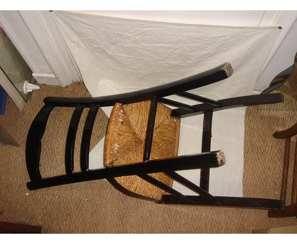 Chaise de chambre en bois & assise en paille