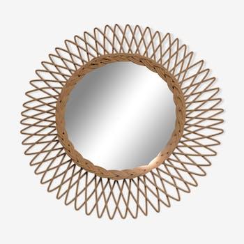 Sun mirror in braided rattan, 1960, 44cm.