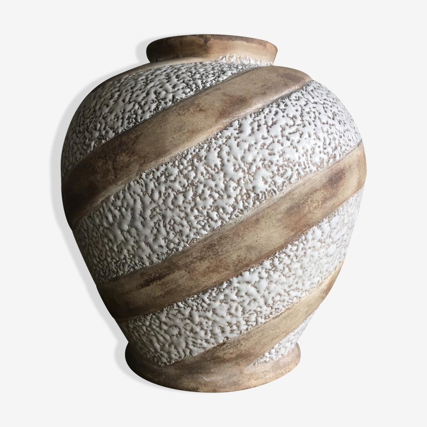 Vase art deco en faïence signé Odyv
