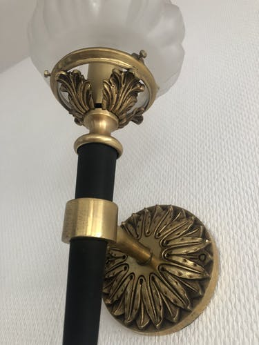 Pair of wall light 1950 torch or bronze torch
