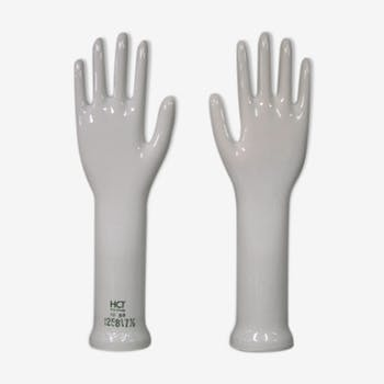 Pair of hands porcelain glove mold West Germany