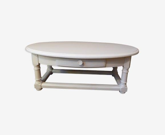 Table Basse Ovale Bois Materiau Blanc Classique Y9lyvfw