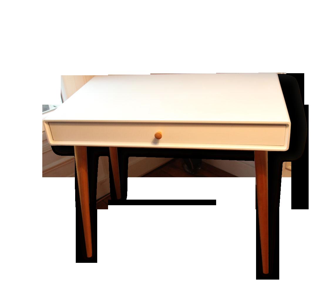 Bureau blanc vintage style scandinave bois matériau blanc