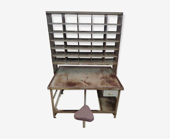 Vintage metal post office sorting cabinet