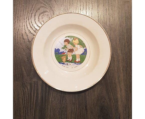 Assiettes parlantes scène d'enfants