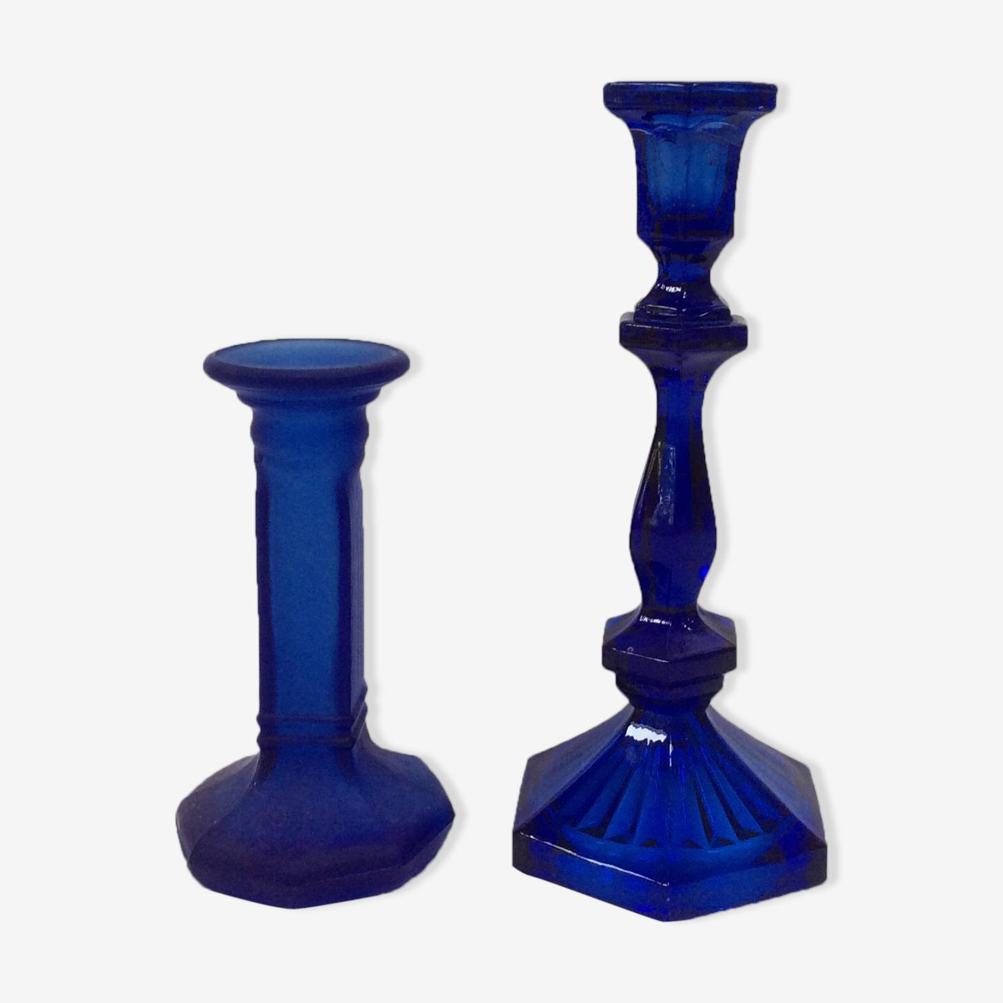 Pair of candlesticks blue klein