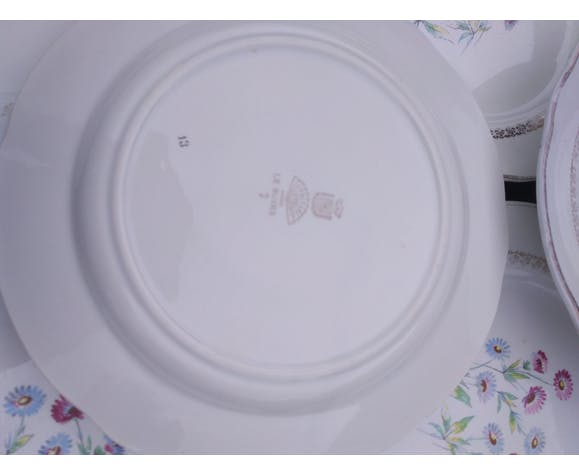 Set of 8 vintage flat plates, ceramics by Digoin Sarguemines