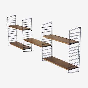 Vintage bookshelf / wall system / Tomado teak wall rack / metal 60s