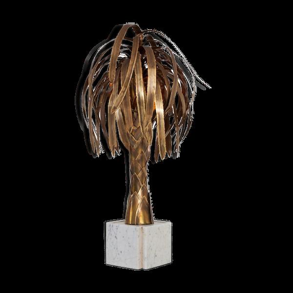 Lampe palmier en laiton sur socle en marbre blanc 1970