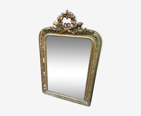 Miroir ancien plâtre & bois doré avec nœud carquois et flambeau