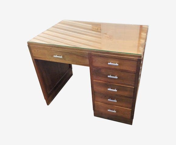 Bureau ancien ann es 60 70 en bois massif bois mat riau bois couleur vintage qlxqip9 - Bureau bois ancien ...