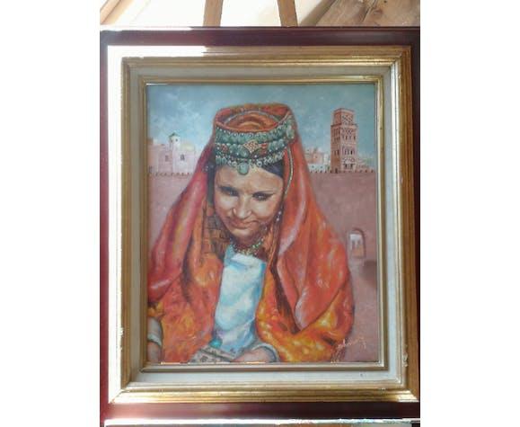 """Portait à l'huile """"La belle marocaine au châle rouge"""""""