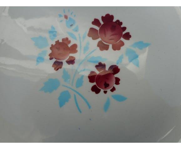Series of 6 plates flat vintage earthenware MDL