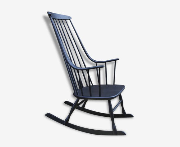 rocking chair scandinave noir mat bois mat riau noir scandinave 137385. Black Bedroom Furniture Sets. Home Design Ideas