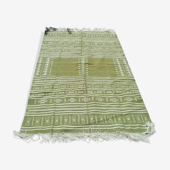 Tapis kilim marocain, berbère, vert en laine fait main - 100x200cm