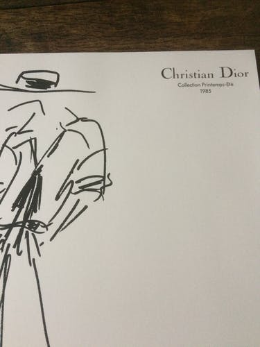 Print fashion illustration Christian Dior spring-summer collection 1985