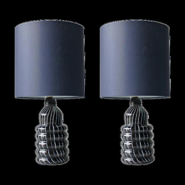 Lampe ceramique-porcelaine-faience bleu