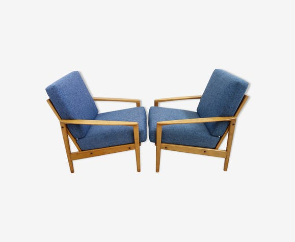 Set of two blue chairs 1960s