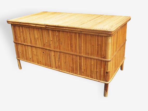 Banc coffre à jouet rotin bambou 1960