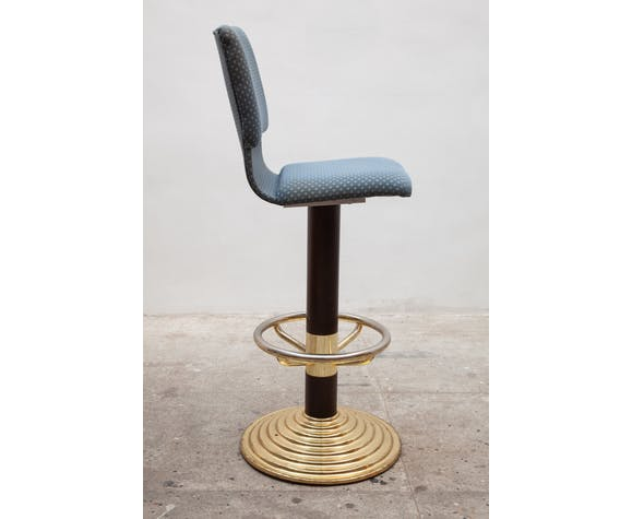 High Brass Bar Stool with Footrest 1980s