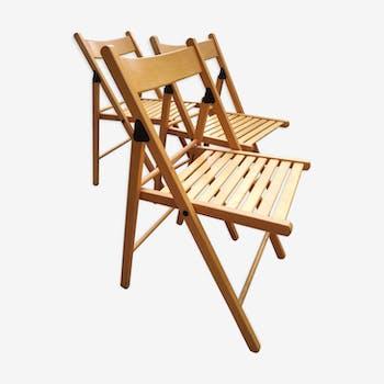 Lot de 3 chaises de jardin vintage pliantes en bois blond verni non teinté