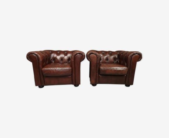 Fauteuils chesterfield cuir marron brun