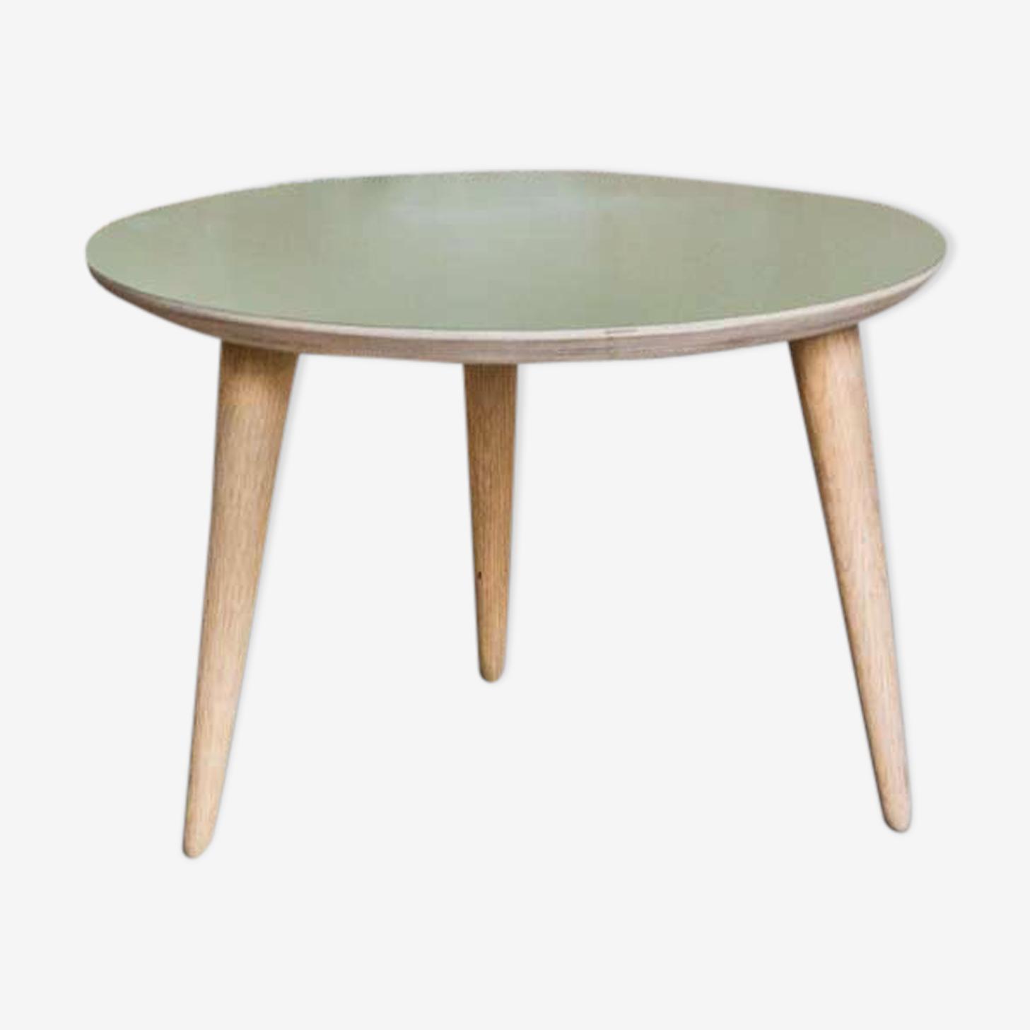 Table basse ronde D50cm avec pied compas en chêne massif & plateau vert