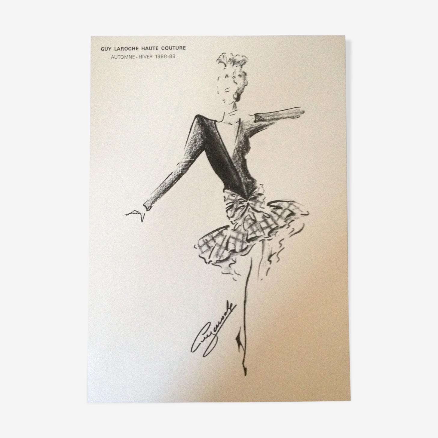 Croquis de mode presse Guy Laroche fin des années 80