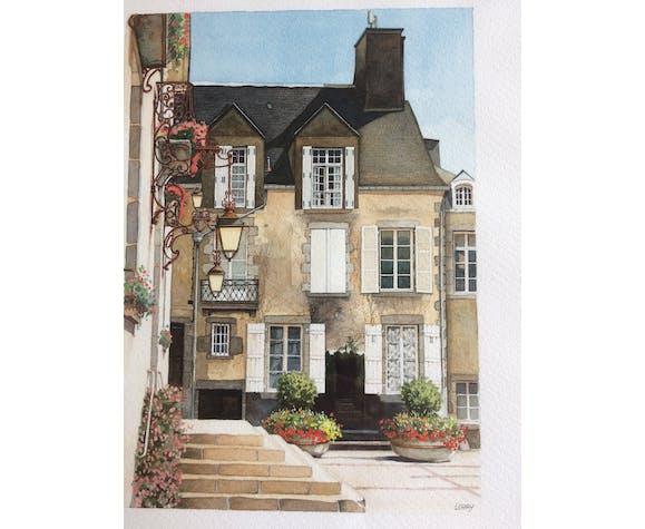 Aquarelle de Daniel Leray, Hôtel particulier à Mayenne