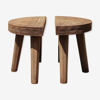 Paire de bouts de canapé demi-lune en bois