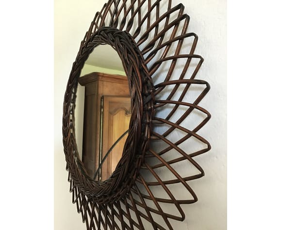 Sun mirror in rattan 44x44cm