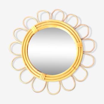 Miroir soleil en rotin 32x32cm
